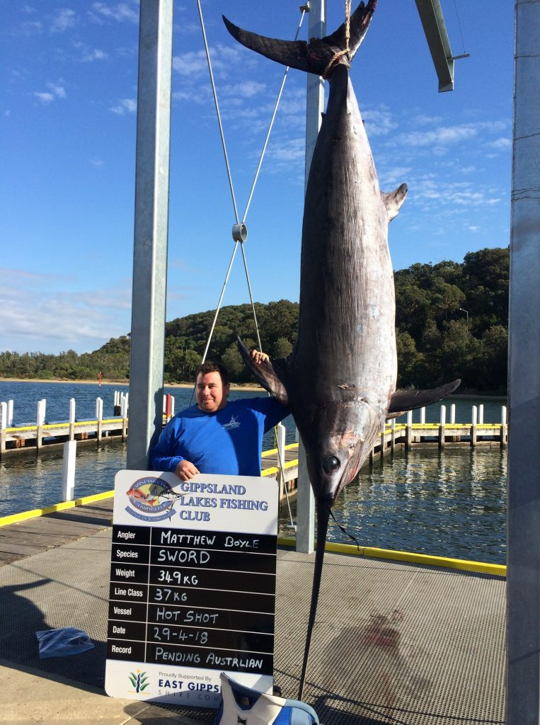 Image of Matthew Boyle and a 349kg Swordfish